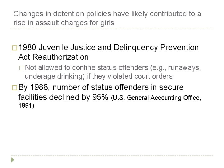 Changes in detention policies have likely contributed to a rise in assault charges for