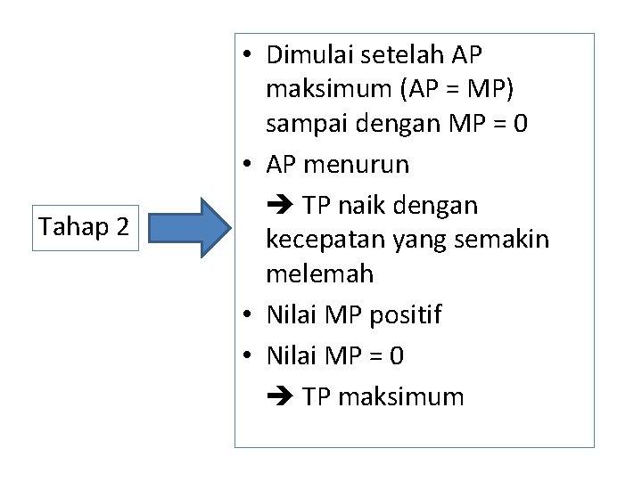 Tahap 2 • Dimulai setelah AP maksimum (AP = MP) sampai dengan MP =
