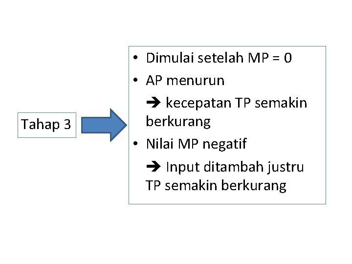 Tahap 3 • Dimulai setelah MP = 0 • AP menurun kecepatan TP semakin