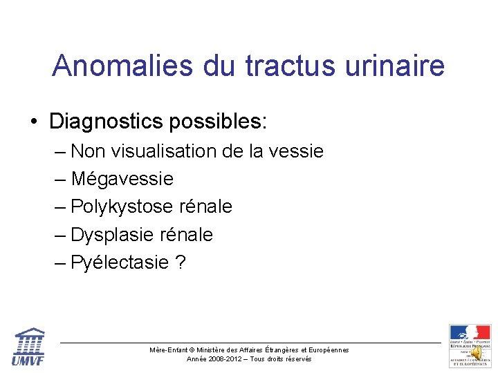 Anomalies du tractus urinaire • Diagnostics possibles: – Non visualisation de la vessie –