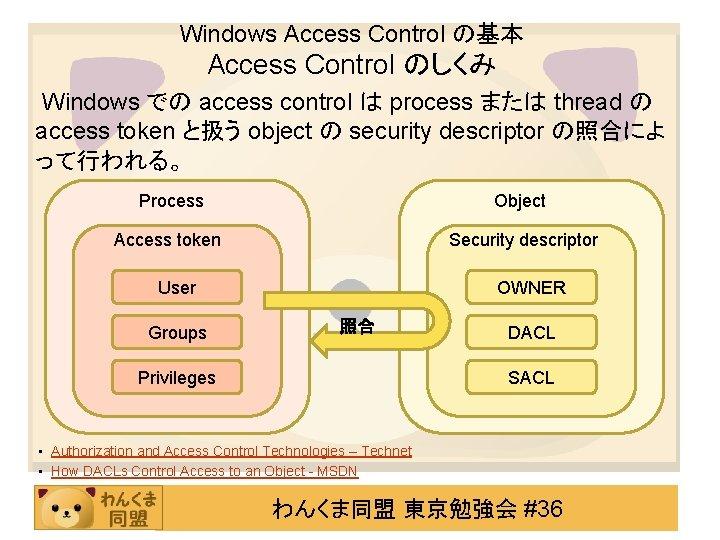 Windows Access Control の基本 Access Control のしくみ Windows での access control は process または