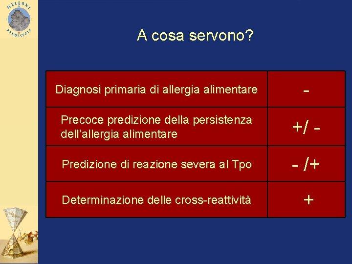 A cosa servono? Diagnosi primaria di allergia alimentare - Precoce predizione della persistenza dell'allergia