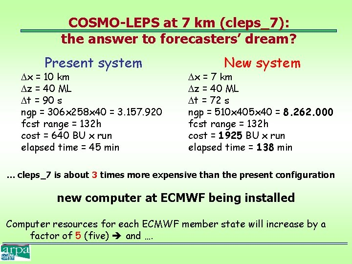 COSMO-LEPS at 7 km (cleps_7): the answer to forecasters' dream? Present system x =