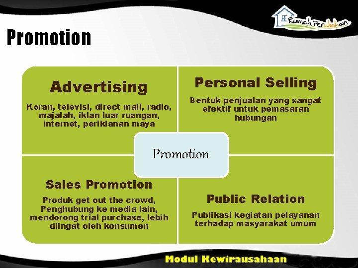 Promotion Personal Selling Advertising Koran, televisi, direct mail, radio, majalah, iklan luar ruangan, internet,