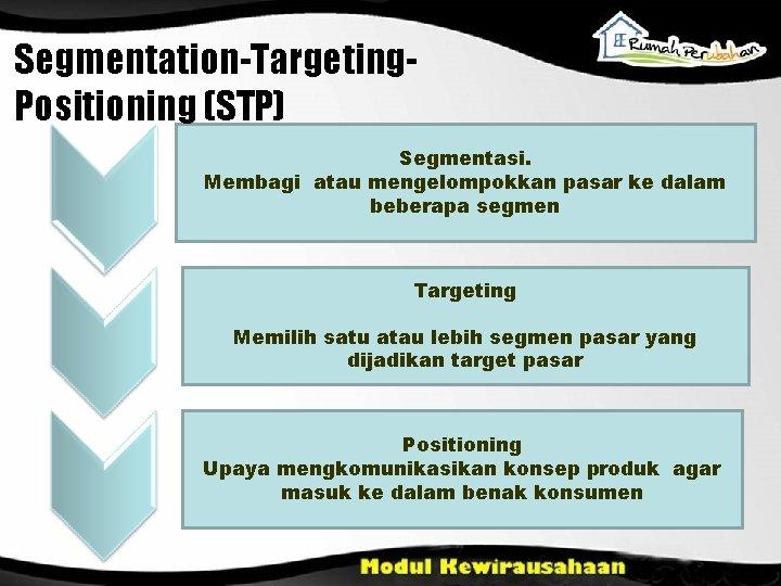 Segmentation-Targeting. Positioning (STP) Segmentasi. Membagi atau mengelompokkan pasar ke dalam beberapa segmen Targeting Memilih