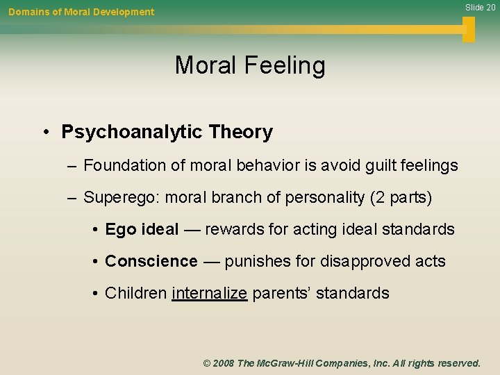 Slide 20 Domains of Moral Development Moral Feeling • Psychoanalytic Theory – Foundation of