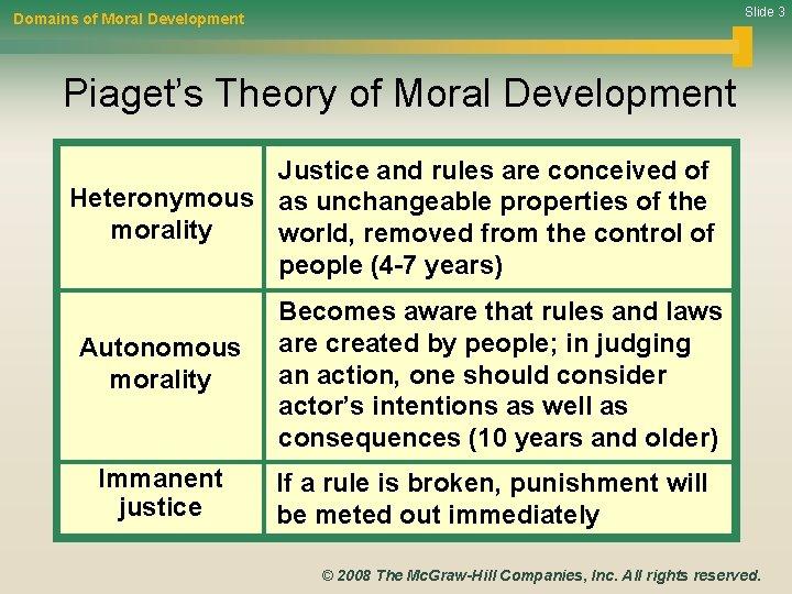 Slide 3 Domains of Moral Development Piaget's Theory of Moral Development Justice and rules