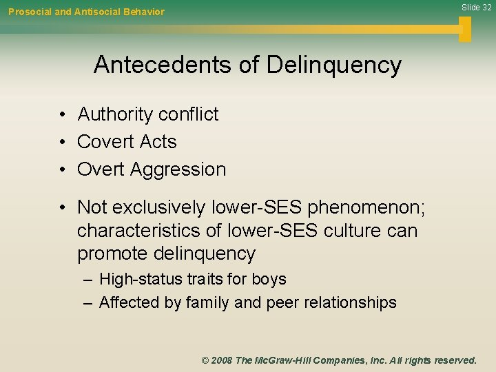 Slide 32 Prosocial and Antisocial Behavior Antecedents of Delinquency • Authority conflict • Covert