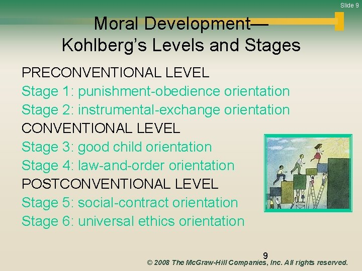 Slide 9 Moral Development— Kohlberg's Levels and Stages PRECONVENTIONAL LEVEL Stage 1: punishment-obedience orientation