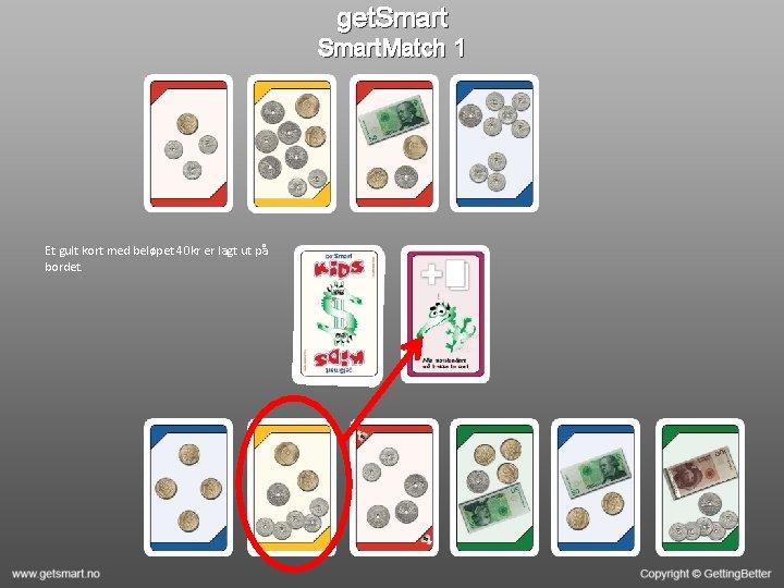get. Smart. Match 1 Et gult kort med beløpet 40 kr er lagt ut