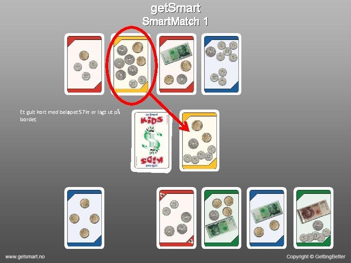 get. Smart. Match 1 Et gult kort med beløpet 57 kr er lagt ut