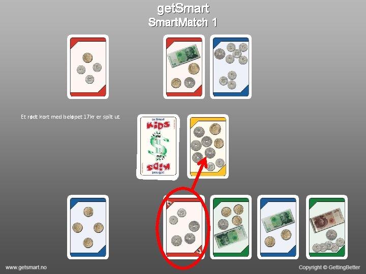 get. Smart. Match 1 Et rødt kort med beløpet 17 kr er spilt ut.