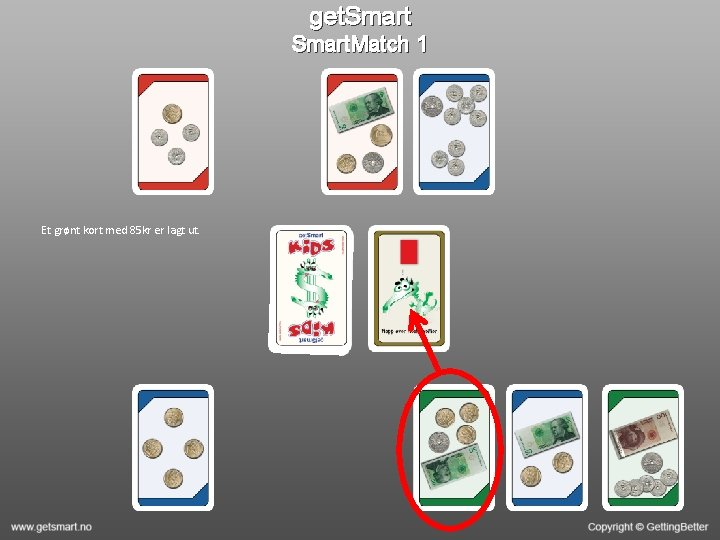 get. Smart. Match 1 Et grønt kort med 85 kr er lagt ut.