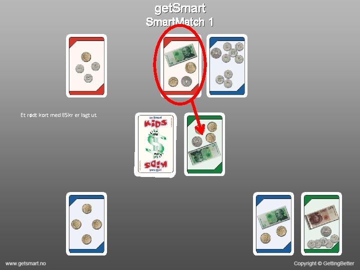 get. Smart. Match 1 Et rødt kort med 85 kr er lagt ut.