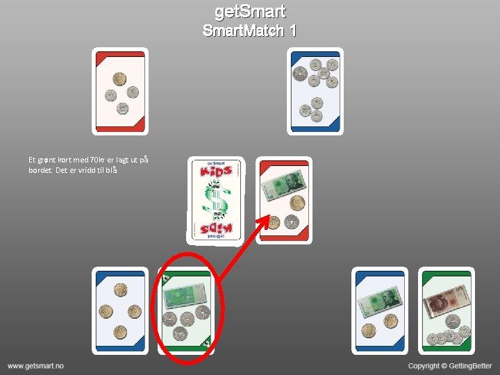 get. Smart. Match 1 Et grønt kort med 70 kr er lagt ut på