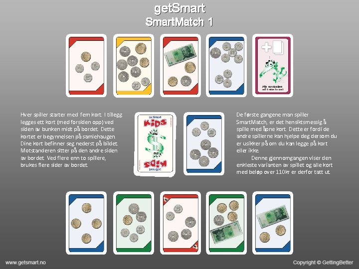 get. Smart. Match 1 Hver spiller starter med fem kort. I tillegges ett kort