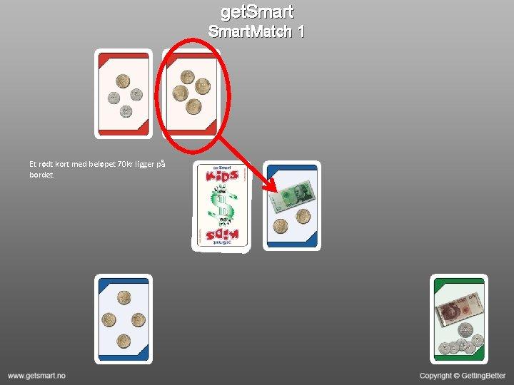 get. Smart. Match 1 Et rødt kort med beløpet 70 kr ligger på bordet.