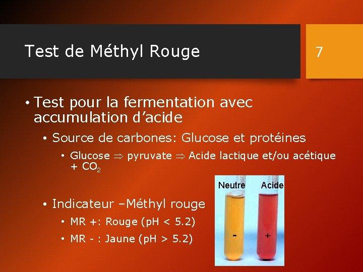 Test de Méthyl Rouge 7 • Test pour la fermentation avec accumulation d'acide •