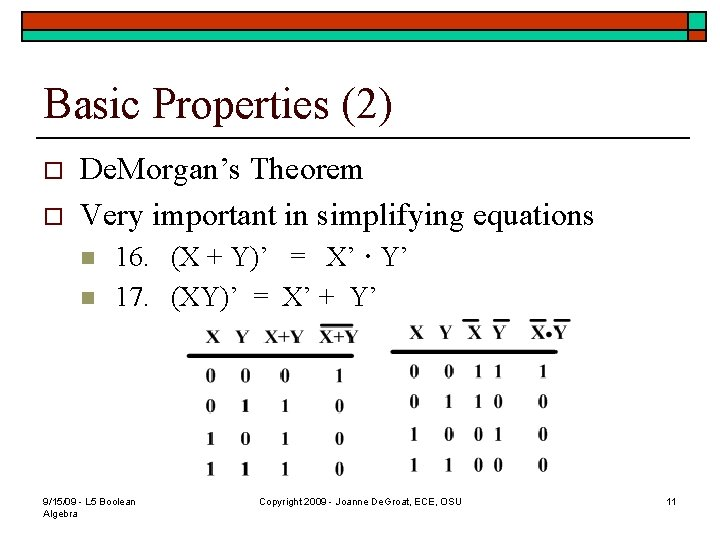 Basic Properties (2) o o De. Morgan's Theorem Very important in simplifying equations n
