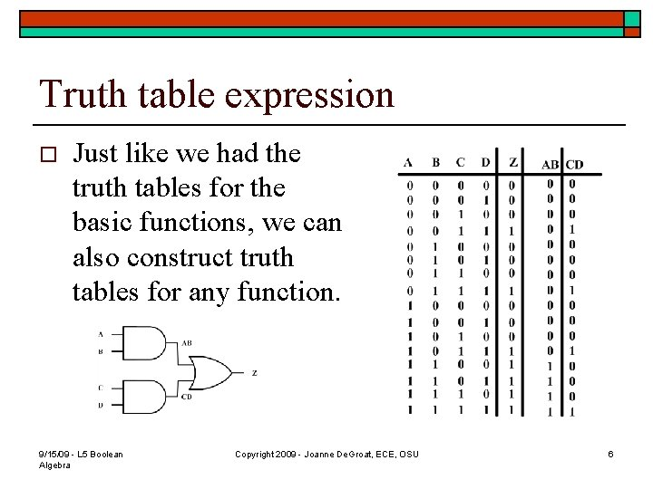Truth table expression o Just like we had the truth tables for the basic