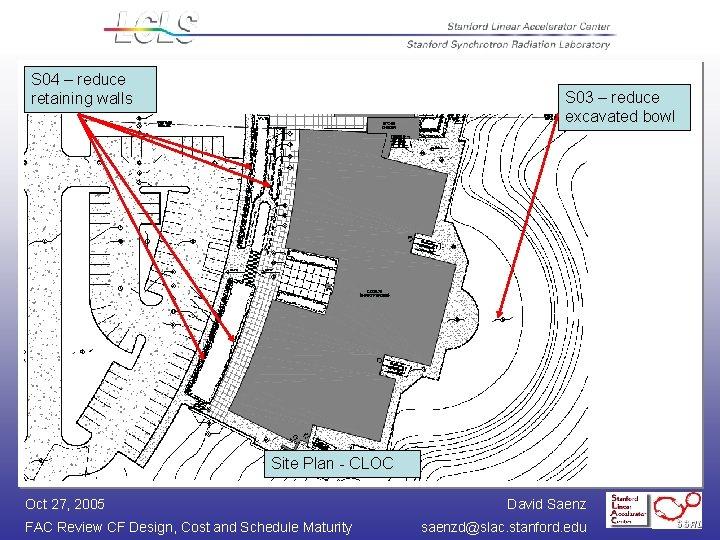 S 04 – reduce retaining walls S 03 – reduce excavated bowl Site Plan