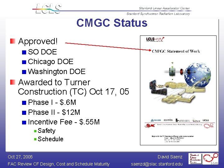 CMGC Status Approved! SO DOE Chicago DOE Washington DOE Awarded to Turner Construction (TC)