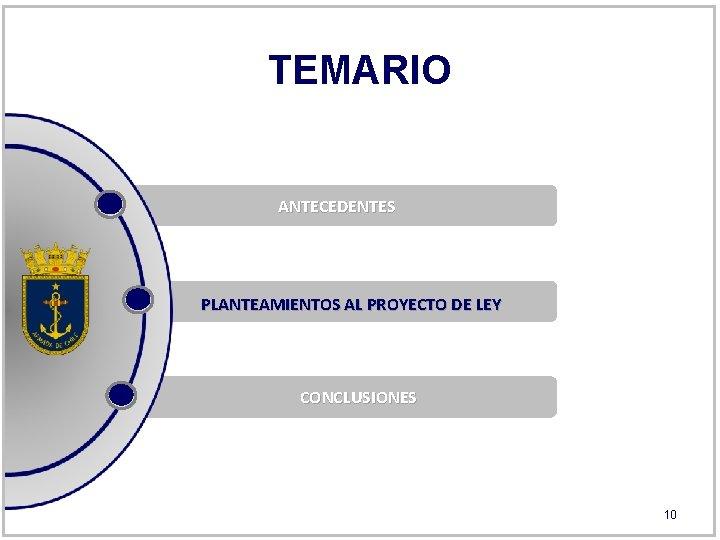 TEMARIO ANTECEDENTES PLANTEAMIENTOS AL PROYECTO DE LEY CONCLUSIONES 10
