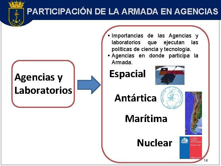 PARTICIPACIÓN DE LA ARMADA EN AGENCIAS § Importancias de las Agencias y laboratorios que