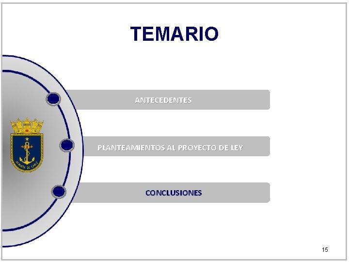 TEMARIO ANTECEDENTES PLANTEAMIENTOS AL PROYECTO DE LEY CONCLUSIONES 15