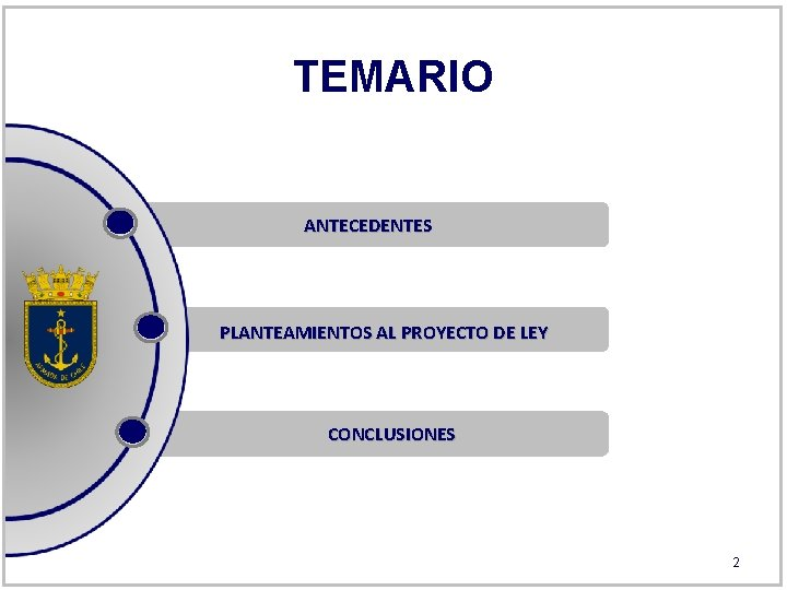TEMARIO ANTECEDENTES PLANTEAMIENTOS AL PROYECTO DE LEY CONCLUSIONES 2