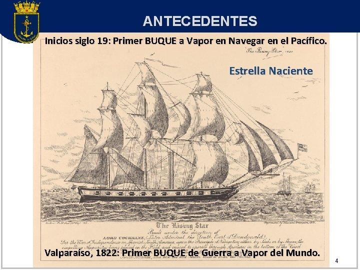 ANTECEDENTES Inicios siglo 19: Primer BUQUE a Vapor en Navegar en el Pacífico. Estrella