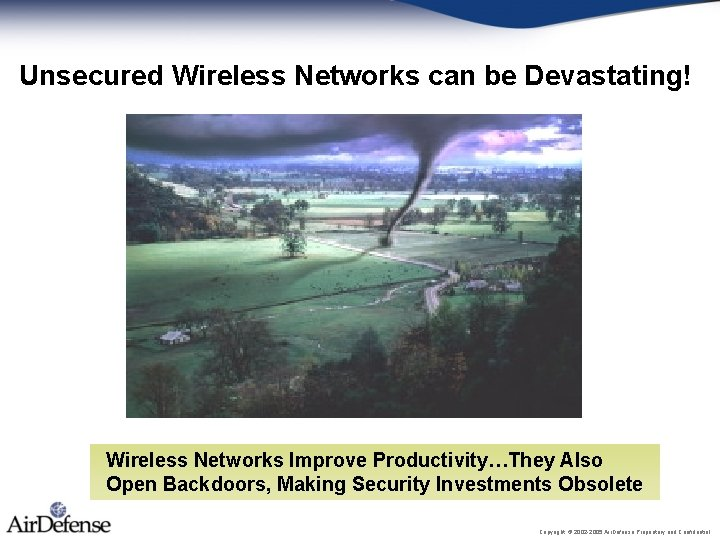 Unsecured Wireless Networks can be Devastating! Wireless Networks Improve Productivity…They Also Open Backdoors, Making