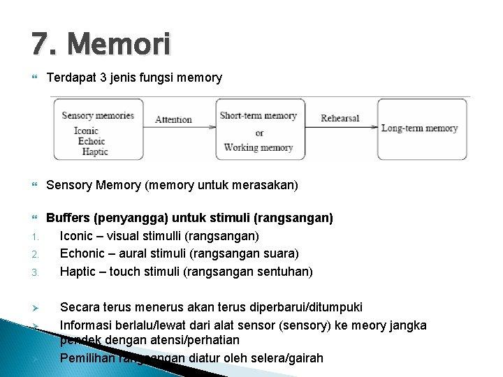 7. Memori Terdapat 3 jenis fungsi memory Sensory Memory (memory untuk merasakan) Buffers (penyangga)