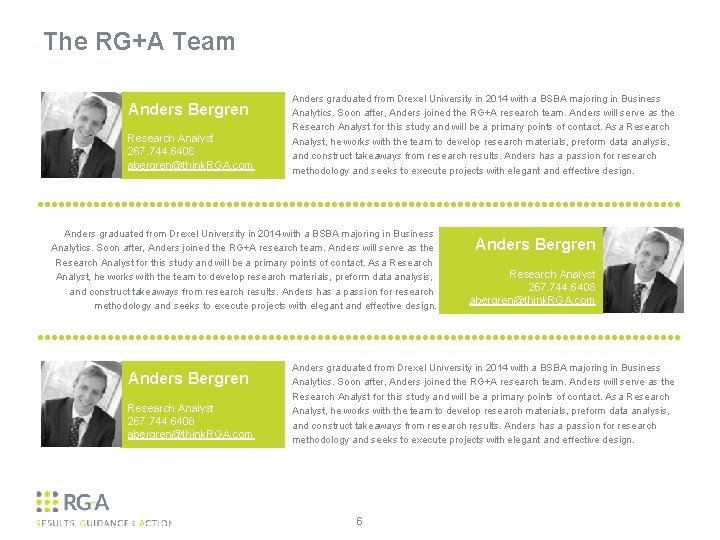 The RG+A Team Anders Bergren Research Analyst 267. 744. 6408 abergren@think. RGA. com Anders