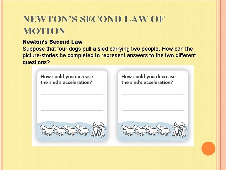 NEWTON'S SECOND LAW OF MOTION Newton's Second Law Suppose that four dogs pull a