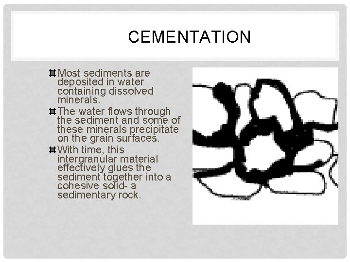 CEMENTATION Most sediments are deposited in water containing dissolved minerals. The water flows through