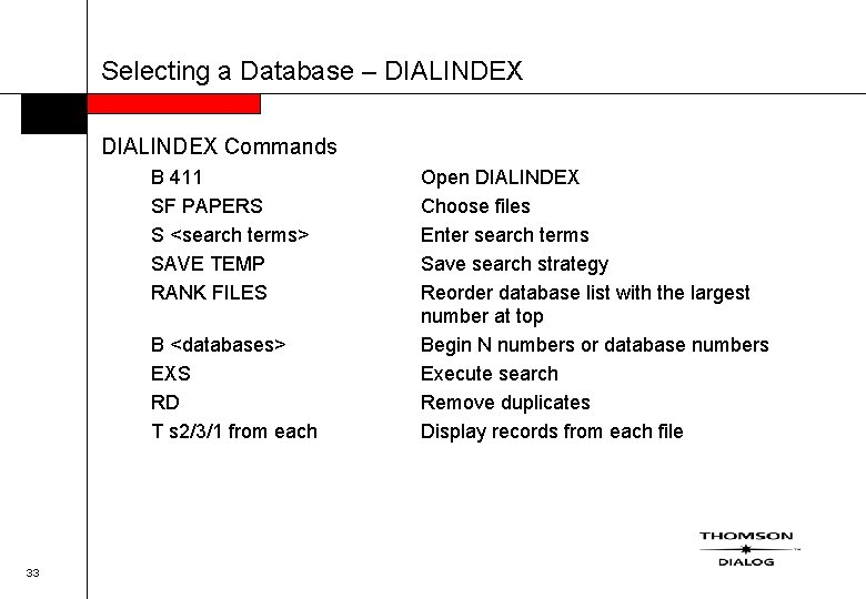 Selecting a Database – DIALINDEX Commands B 411 SF PAPERS S <search terms> SAVE