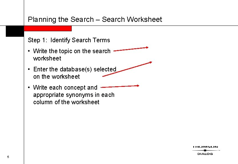Planning the Search – Search Worksheet Step 1: Identify Search Terms • Write the