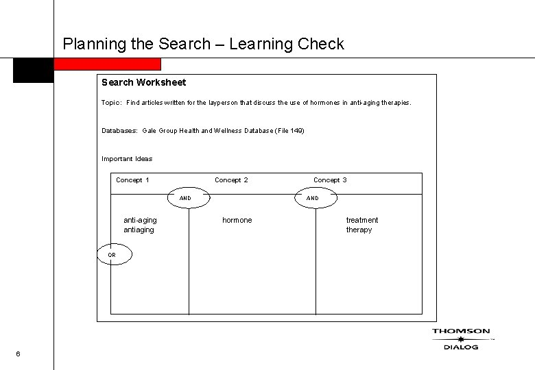 Planning the Search – Learning Check Search Worksheet Topic: Find articles written for the