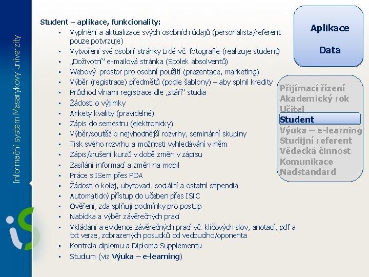 Informační systém Masarykovy univerzity Student – aplikace, funkcionality: Aplikace • Vyplnění a aktualizace svých