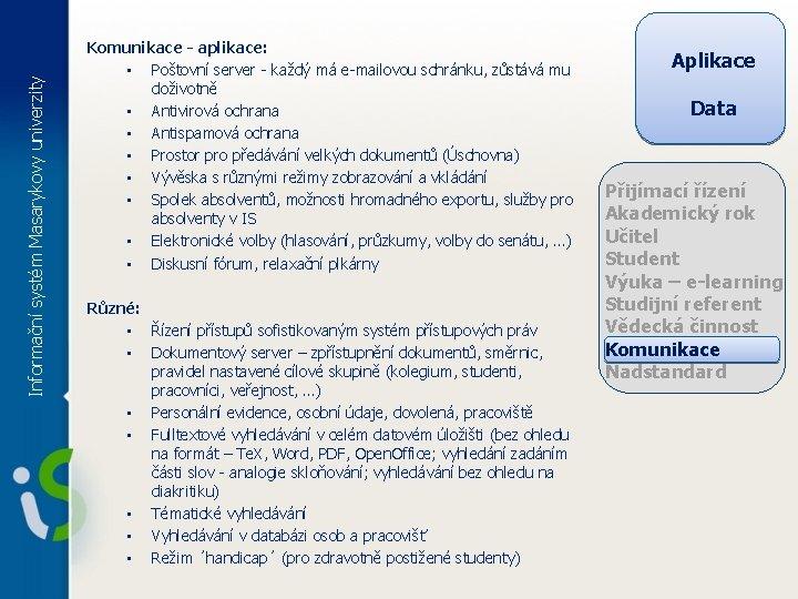 Informační systém Masarykovy univerzity Komunikace - aplikace: • Poštovní server - každý má e-mailovou