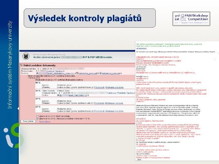Informační systém Masarykovy univerzity Výsledek kontroly plagiátů