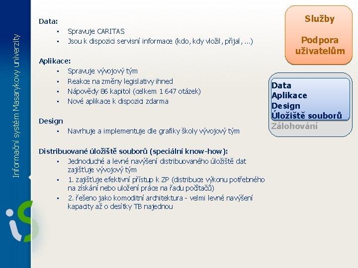 Služby Informační systém Masarykovy univerzity Data: • • Spravuje CARITAS Jsou k dispozici servisní