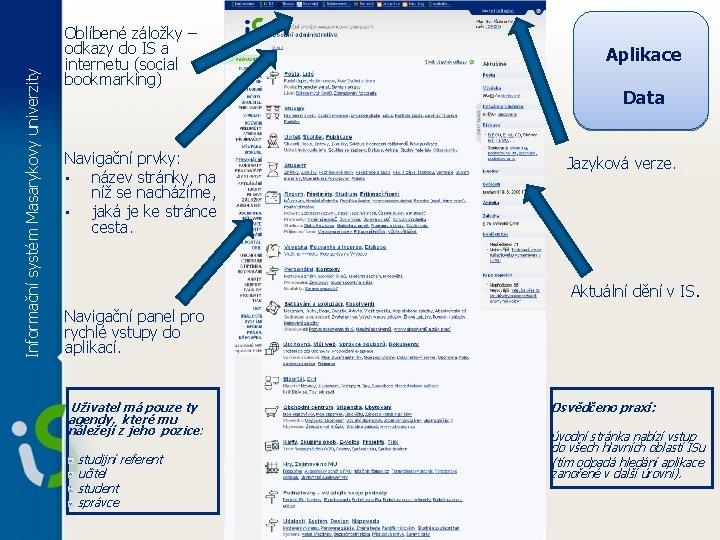 Informační systém Masarykovy univerzity Oblíbené záložky – odkazy do IS a internetu (social bookmarking)