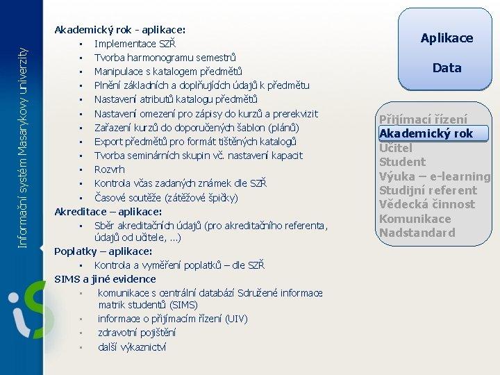 Informační systém Masarykovy univerzity Akademický rok - aplikace: • Implementace SZŘ • Tvorba harmonogramu