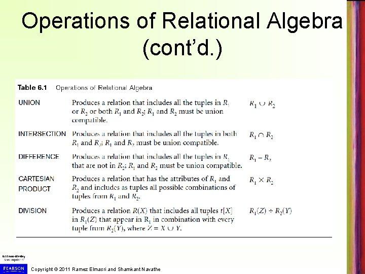 Operations of Relational Algebra (cont'd. ) Copyright © 2011 Ramez Elmasri and Shamkant Navathe