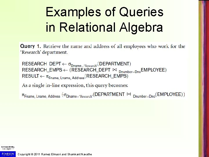Examples of Queries in Relational Algebra Copyright © 2011 Ramez Elmasri and Shamkant Navathe