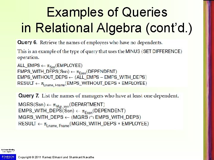 Examples of Queries in Relational Algebra (cont'd. ) Copyright © 2011 Ramez Elmasri and