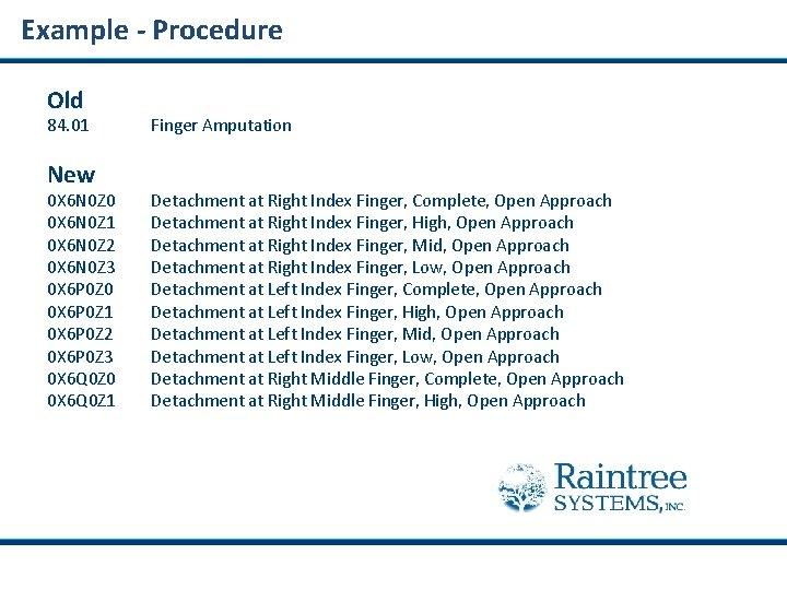 Example - Procedure Old 84. 01 New 0 X 6 N 0 Z 0