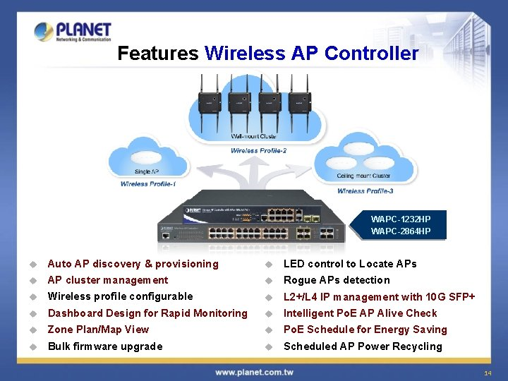 Features Wireless AP Controller WAPC-1232 HP WAPC-2864 HP u Auto AP discovery & provisioning